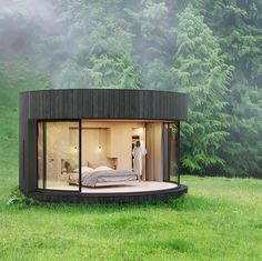Prefab Cabins, Prefabricated Houses, Prefab Homes, Tyni House, Tiny House Cabin, Cabin Design, House Design, Glass Cabin, Casas Containers