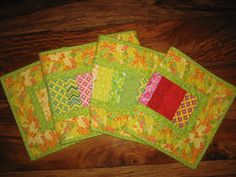 Quilted Table Runner Summer Green Yellow Orange Red by TahoeQuilts