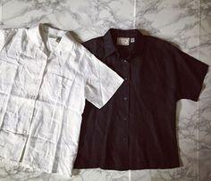 ⍆ shop preview: white and black linen button down shirts / linen womens pocket shirt / basic minimal #vintagelinen #linen #linenshirt #minimal #minimalistfashion #minimaliststyle #minminvintageshop