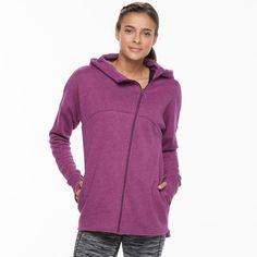 Women's Tek Gear® Fleece Asymmetrical Zip Jacket, Size: Medium, Med Purple