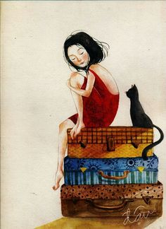 illustration for teen. Art And Illustration, Black Cat Images, She And Her Cat, New Theme, Cat Drawing, Cat Art, Just In Case, Watercolor Art, Artsy