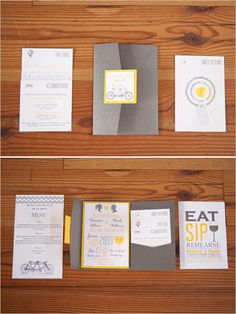 yellow and grey wedding invitations #weddingpaper #invites #yellowandgrey http://www.weddingchicks.com/2013/12/13/classic-yellow-and-grey-wedding/