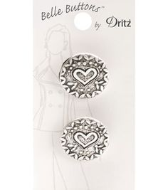 Belle Button-Antique Silver Heart Round 23Mm