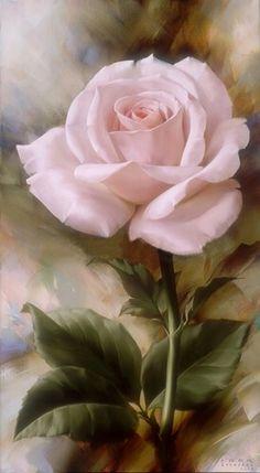 Floral Art - pink rose painting by Igor Levashov Arte Floral, Love Rose, Pretty Flowers, Beautiful Paintings, Beautiful Roses, Flower Art, Flower Power, Amazing Art, Artsy