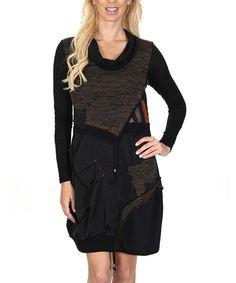 Another great find on #zulily! Black & Brown Patchwork Linen-Blend Dress by Premise Paris, $75 !!   #zulilyfinds