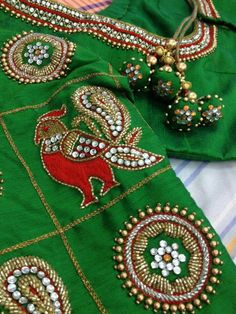 Bullion Embroidery, Embroidery Works, Beaded Embroidery, Hand Embroidery, Embroidery Designs, Best Blouse Designs, Saree Blouse Designs, Mirror Work Blouse, Maggam Work Designs