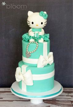 Tiffany Blue Hello Kitty Birthday Cake it is awesome for any little girl. Actually my mom is a cake decorator. Hello Kitty Torte, Bolo Da Hello Kitty, Hello Kitty Birthday Cake, Pretty Cakes, Cute Cakes, Beautiful Cakes, Amazing Cakes, Yummy Cakes, Birthday Cakes Girls Kids