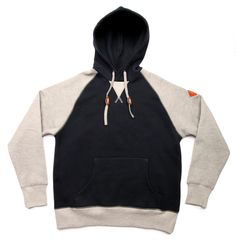 Bodega Raglan Hoody. Raglan-sleeved hoody with contrast paneling in arms, bottom hem and v-neck placket. Other details include the consistent suede diamond hit and suede drawstring stoppers. Grab this for $85 at http://shop.bdgastore.com/products/raglan-hoody-navy