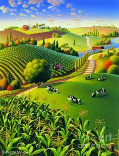 Nature Inspired Illustrations By Robin Moline Abstract Landscape, Landscape Paintings, Illustration Art, Illustrations, Henri Rousseau, Farm Art, Arte Popular, Naive Art, Whimsical Art