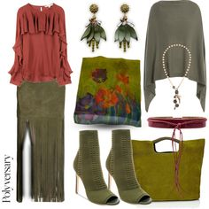 Women's fashion suede long maxi fringed skirt in olive green, clay red ruffled long sleeve blouse, floral earrings, ruana sweater, floral silk scarf, stiletto booties, and tote purse. Clay Olive Floral by simply-one on Polyvore featuring Veronica Beard, 81hours, ThePerfext, Steve Madden, Simon Miller, Ann Taylor, Love Heals and Ada