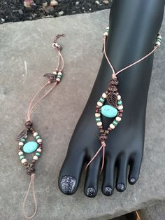 Barefoot Sandals (turquoise & copper)