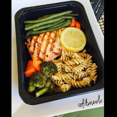 """. Enjoy a Healthy Ready and Fresh Lunch or Dinner to keep you on point and help you with all your goals. . CONVENIENT DELICIOUSNUTRITIOUS. . Grilled Salmon with Blanched Green Beans and Some Fresh Broccoli and whole wheat penne pasta from our """"Build your own Meal"""" option.  Nutrition Facts: (Serving Size: Full)  Carbs: 92g  Fats: 17.1g  Protein: 53g  Calories: 741. . We provide weekly meal prep service that is designed for foodies that are health aware and deep into fitness and for those…"""