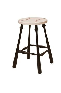 Amish Painted Baseball Barstool Amish Painted Baseball Barstool. Can you find the baseball bats? Custom bar stools perfect for man cave or bachelor pad. #DutchCrafters