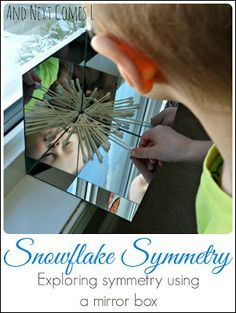 And Next Comes L: Exploring Symmetry with Snowflakes in a DIY Mirror Box {Light & Reflections Series} Symmetry Activities, Winter Activities, Science Activities, Symmetry Math, Montessori Science, Morning Activities, Color Activities, Full Day Kindergarten, Kindergarten Science
