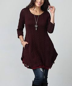 Reborn Collection Plum Cable Knit Lace Layered Tunic – Plus | zulily