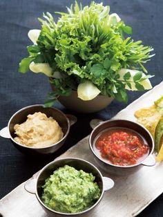 【ELLE a table】ディップ3種 野菜のブーケとトルティーヤチップス添え サルサレシピ|エル・オンライン