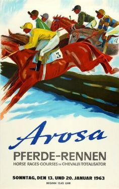 Arosa Horse Races Switzerland, 1963 - original vintage poster by Herbert Berthold Libiszewski (Herbert Berthold Libis / Hugo Laubi) listed on AntikBar.co.uk