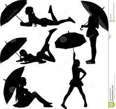 girl silhouette with umbrella - Google Search