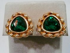 Vintage S.A.L. Swarovski Clip On Gold Tone Metal And Green