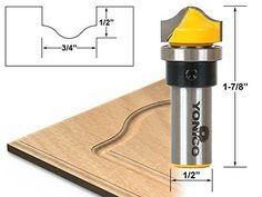 """Yonico 14978 Ogee Groove Router Bit, Cutting Diameter 3/4"""", Cutting Height 1/2"""", 1/2"""" Shank"""