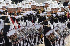 The Massed Bands of the Royal Marines Band performed Beat Retreat at Horse Guards Parade.