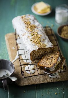 Banana Bread with Vanilla Icing and Pistachios