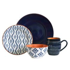 16pc Tanigers Blue dinnerware set from Baum.   Inspired by the tilework patterns of Morocco, this set with it's mixed patterns, layers beautifully to give your table a little extra pop! 16pc set includes four each  - dinner plate, salad plate, bowl, mug.