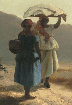 """Camille Pissarro (1830-1903) ~ """"Saint-Thomas, Deux femmes causant au bord de la mer, Antilles"""", 1856 (Détail) ~ Huile sur Toile ~ National Gallery of Art, Washington"""