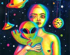 Original acrylic painting on watercolor paper unique artwork Psychedelic Art, Unique Paintings, Original Paintings, Chica Alien, Cartoon Spaceship, Alien Girl, Surrealism Painting, Painting Art, Hippie Art