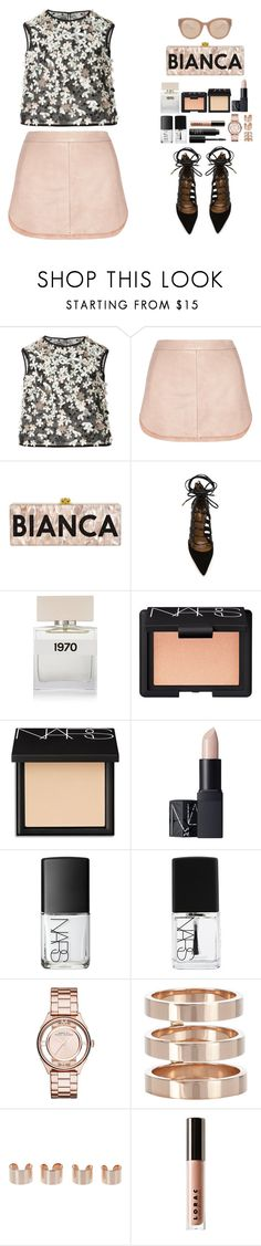 """""""Feeling like a royal"""" by anais-h ❤ liked on Polyvore featuring Monique Lhuillier, Mason by Michelle Mason, Aquazzura, Bella Freud, NARS Cosmetics, Marc by Marc Jacobs, Repossi, Maison Margiela, LORAC and Linda Farrow"""