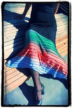 Flamenco belly dance skirt stretchy mermaid style with multi-coloured ruffles by ScheherazadeBanoo, $75.00