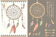 Dream Catcher, feathers, beads by Blue Lela Illustrations on Creative Market