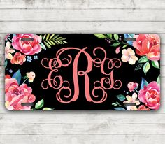 Classy Floral Front License Plate Personalized Monogrammed Black Car Tag Car Accessories Gift Sweet 16 Cute Car Accessories For Women by ChicMonogram on Etsy https://www.etsy.com/listing/279016064/classy-floral-front-license-plate