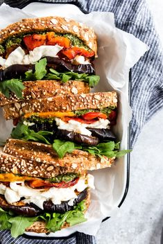 The best Balsamic Roasted Eggplant, Pesto & Mozzarella Sandwiches with roasted bell peppers & arugula are a quick, easy & so delicious! #vegetariansandwich #sandwich #homemadepesto #eggplantsandwich #eggplantrecipe #sandwich Veggie Recipes, Whole Food Recipes, Vegetarian Recipes, Cooking Recipes, Healthy Recipes, Mozzarella Sandwich, Pesto Mozzarella, Pesto Sandwich, Cooking Tips