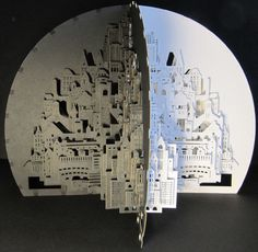 jocundist: incredible pop-up cities cut from single sheet of paper Paper Installation, Origami Architecture, Cardboard Art, Japanese Art, Pop Up, Amazing Art, Paper Art, Book Art, The Incredibles