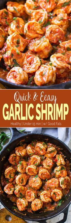 15-Minute Easy Garlic Shrimp Recipe - shrimps cooked to perfection in finger-licking garlic and fresh tomato sauce. Perfect side to pasta, grits or risotto. #shrimp #healthyrecipes  via @watchwhatueat