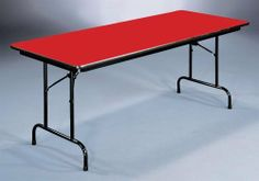 High Pressure Folding Table in Red (18 in. x 48 in./Red) by Correll. $443.14. Finish: 18 in. x 48 in./Red. 1.625 in. one piece steel Apron. For heavy duty home, office, school, church, food service and commercial use. 1 in. 18 gauge steel pedestal legs. 0.75 in. high density particle board core with backer sheet. High pressure folding table is available in your choice of size and finish options. For heavy duty home, office, school, church, food service and commercial use . ...