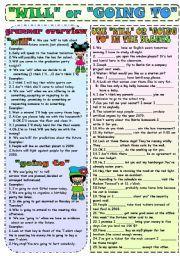 Will Or Going To Esl Grammar Exercise Worksheet Future Tense Tenses Printable Worksheets