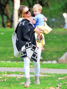 Hilary Duff with son Luca in a Beverly Hills park 27 January 2014.