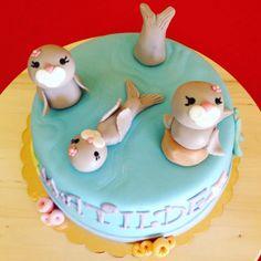 Sea lions cake fondant- happy birthday Matilde- baby girl- 1st