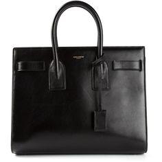 SAINT LAURENT 'Sac de Jour' tote (44,840 MXN) ❤ liked on Polyvore featuring bags, handbags, tote bags, purses, bolsas, accessories, black leather tote bag, black handbags, leather tote and leather tote bags