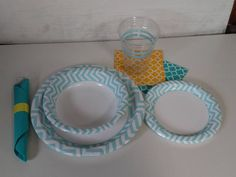 wedding table settings. teal, yellow and white