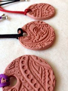 Paisley stamped ceramic Essential oil diffuser pendant necklace on Etsy, $10.00