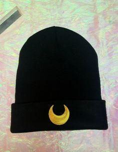 Sailor Moon Inspired Beanie // Luna Cat by holographicdreamz, $26.00