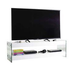Mobile+porta+TV+Dapper+in+legno+e+vetro+bianco+150+o+200+cm