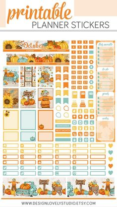 Say hello to October with this sunflower and pumpkin filled printable planner stickers kit from Design Lovely Studio! Monthly Planner Printable, Free Planner, Mini Happy Planner, Best Planners, Journal Stickers, Journal Cards, Tapas, Washi Tape, Free Printable Stickers