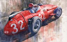 Fangio Wall Art - Painting - Maserati J M Fangio Monaco GP 1957 by Yuriy Shevchuk Old Sports Cars, Vintage Sports Cars, Vintage Racing, Vintage Cars, Maserati, Sports Painting, Car Painting, Ferrari F1, Car Illustration