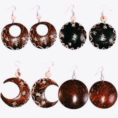 Earrings made from coconut shells.