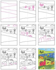 Draw a Landscape · Art Projects for Kids - - Learn how to draw a landscape with a lake tucked into one of its layers. Lots of room for fore, middle and background details. Art Projects For Adults, Art Lessons For Kids, School Art Projects, Art Lessons Elementary, Art School, Art For Kids, High School, Kids Drawing Lessons, Elementary Art Education