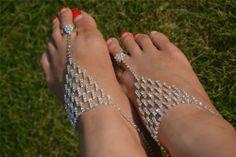 1Pair Barefoot Sandal Foot Jewelry Beach Wedding Ankle Bracelet Silver/Golden | eBay